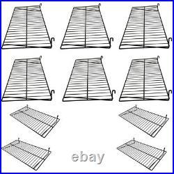 10 Pc Gloss Black 24'' x 12'' Wire Grid Shelf Shelves Gridwall Display Fixture