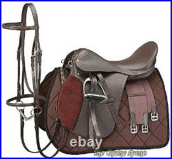 14 Inch All Purpose English Saddle Package Havana Brown All Leather