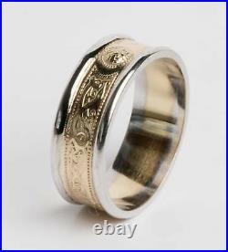 14k Gold Celtic Irish Handcrafted Irish Ring Band all sizes warrior design 6mm