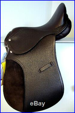 15 Dk Brown All Purpose Youth Kids English EVENT JUMP Leather Saddle Silver Fox