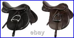 16 17 18 Black Brown English All Purpose Riding Horse Leather Saddle Tack New