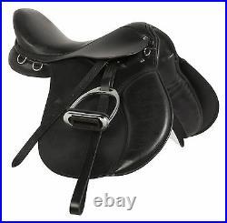 16 17 Jumping Black English Horse Riding Show Jumper Hunter Saddle Tack