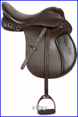 16 18 in BROWN LEATHER ALL PURPOSE ENGLISH HORSE RIDING SADDLE TACK STIRRUPS