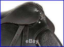 16 Black Leather All Purpose English Horse Riding Saddle Tack Stirrups