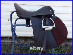 17 BROWN Leather AP Jump English Saddle w Leathers & Irons Bridle & Pad Package
