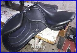 17'' English Equestrian black leather full softy padded all purpose saddle