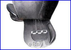 17'' English saddle black leather carving treeless all purpose saddle