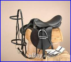18 Inch All Purpose Draft Horse English Saddle Pkg BLACK (Extra Wide) 9 Gullet
