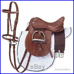 18 Inch All Purpose English Saddle Package Chestnut All Leather 7 Gullet