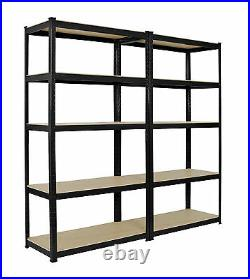 2 x Heavy Duty Boltless Shelving Rack 5 Tier Home Warehouse Shop Display Garage