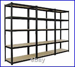 3 x Heavy Duty Boltless Shelving Rack 5 Tier Home Warehouse Shop Display Garage