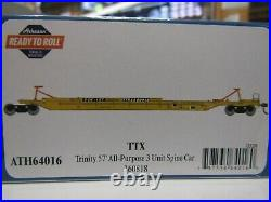 ATHEARN 64016 HO TTX TRINITY 75ft ALL PURPOSE 3 UNIT SPINE CAR SET RD#360818