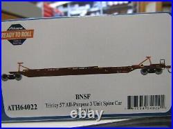 ATHEARN 64022 HO BNSF TRINITY 75ft ALL PURPOSE 3 UNIT SPINE CAR SET RD#300518
