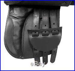 All Purpose English Saddle 16 in Premium Black Leather Horse Tack Set
