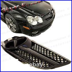 All Shiny Black Base Cover SL Design Front Vent Grille For 03-06 BENZ R230 SL500