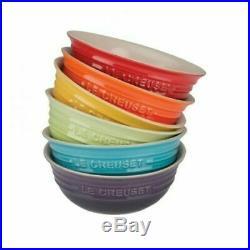 Beautiful Durable Le Creuset Set 6 Bowls Metallics Rainbow Colors All Purpose