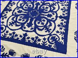 Blue & White Hawaiian design QUILT TOP All Hand Applique work! Very Nice