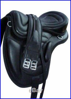 Brand New Treeless Leather Softy Saddle Black with Pu Base Free Girth 17