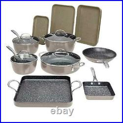 Curtis Stone 14-piece DuraPan Nonstick All-Purpose Cookware Set-Stone Gray