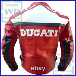 DUCATI Red Famous Design Cowhide Biker Jacket Motorcycle Motorbike Armoured Coat