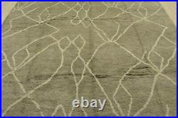 Moroccan Beni Ourain Design Rug, 8' x 10', Grey/Ivory, All wool pile