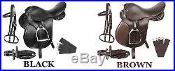 New All Purpose Black Brown Leather English Horse Saddle Tack Set 16 17