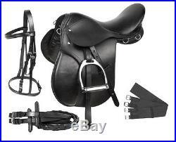 New All Purpose Black Leather English Horse Saddle Bridle Tack Set 16