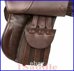 PREMIUM ALL PURPOSE BROWN ENGLISH HORSE SADDLE TACK SET BROWN 16 17 in