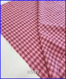 Pink gingham check design tweed all wool fabric suit skirt jacket limited