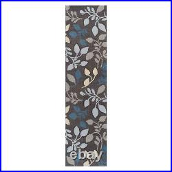 Portland Grey Teal Blue Floral Textured Design Hand-carved ALL SIZES Rugs Runner