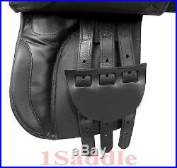 Pro All Purpose Black Leather English Horse Saddle Girth Tack Set 16