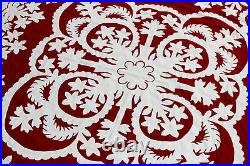 Red & White Hawaiian design QUILT TOP All Hand Applique! Queen Sized