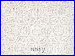 Remarkable Hand-Appliqued Fabric With All-Over Design White Cotton Artisan