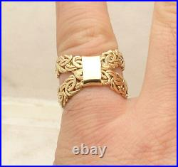 Size 7.5 All Shiny X Design Criss Cross Byzantine Ring Real 14K Yellow Gold