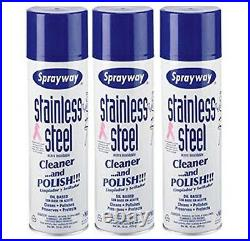 Sprayway SW841 Stainless Steel Cleaner & Polish 15 oz. Can 3 Pack