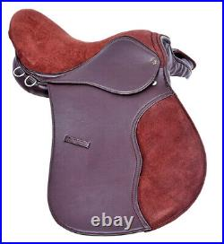 Synthetic All Purpose Horse Saddle Extra Wide Fit Suede Seat, Black & Brown