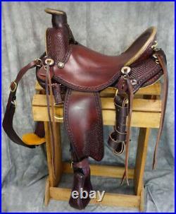 Western Hot seat saddle 16on eco-leather buffalo reddish brown drum dye finish
