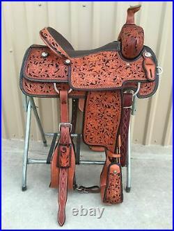 Western barrel saddle 16 on Eco- leather buffalo with drum dye finished