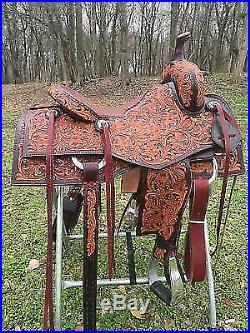 Western hot padded seat saddle 16 on eco leather buffalo on drum dye finished