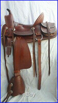 Western hot seat saddle 16'' on Eco Leather buffalo Choclate brown