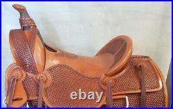 Western hot seat saddle 16 on Eco- leather buffalo with drum dye finished