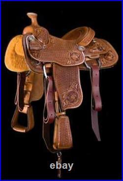 Western padded seat saddle 16 on eco-leather buffalo tan on drum dye finished