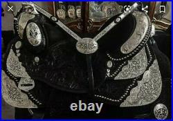 Western show saddle 16 on Eco- leather black with drum dye finished