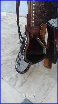 Western show saddle 16 on Eco-leather buffalo dark brown with drum dye finished