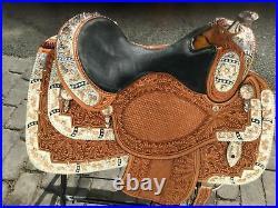 Western show saddle 16 on Eco- leather buffalo with drum dye finished