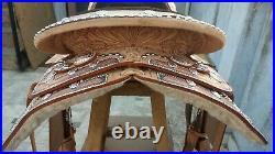 Western show saddle 16 on eco leather buffalo on drum dye finished