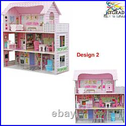 Wooden Kids Doll House All in 1 With Furniture & Staircase Best Dolls Role play