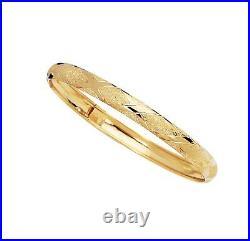 X Design Hug Textured Diamond Cut Bangle Bracelet Real Solid 10K All Yellow Gold