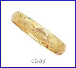 X Design Hugs Textured Bold Thick Bangle Bracelet Real Solid 10K All Yellow Gold